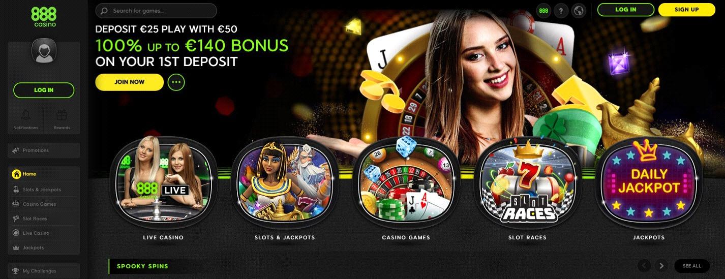 888 Casino Desktop Lobby