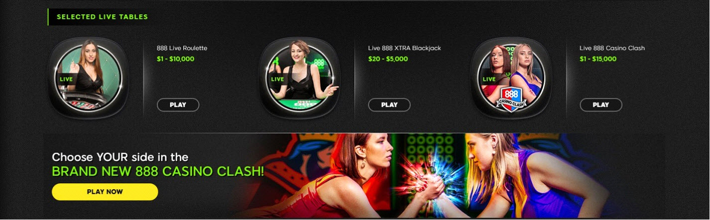 Selected 888 Live Casino Tables